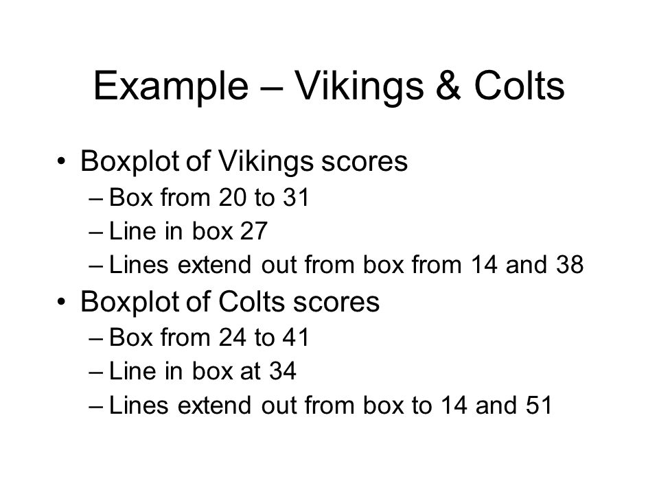 Example – Vikings & Colts Boxplot of Vikings scores –Box from 20 to 31 –Line in box 27 –Lines extend out from box from 14 and 38 Boxplot of Colts scor