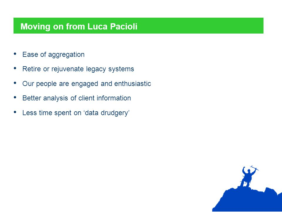 Moving on from Luca Pacioli Ease of aggregation Retire or rejuvenate legacy systems Our people are engaged and enthusiastic Better analysis of client information Less time spent on 'data drudgery'