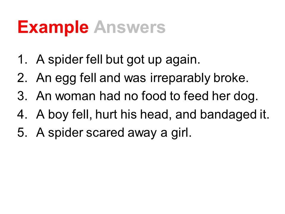 Example Answers 1.A spider fell but got up again. 2.An egg fell and was irreparably broke. 3.An woman had no food to feed her dog. 4.A boy fell, hurt