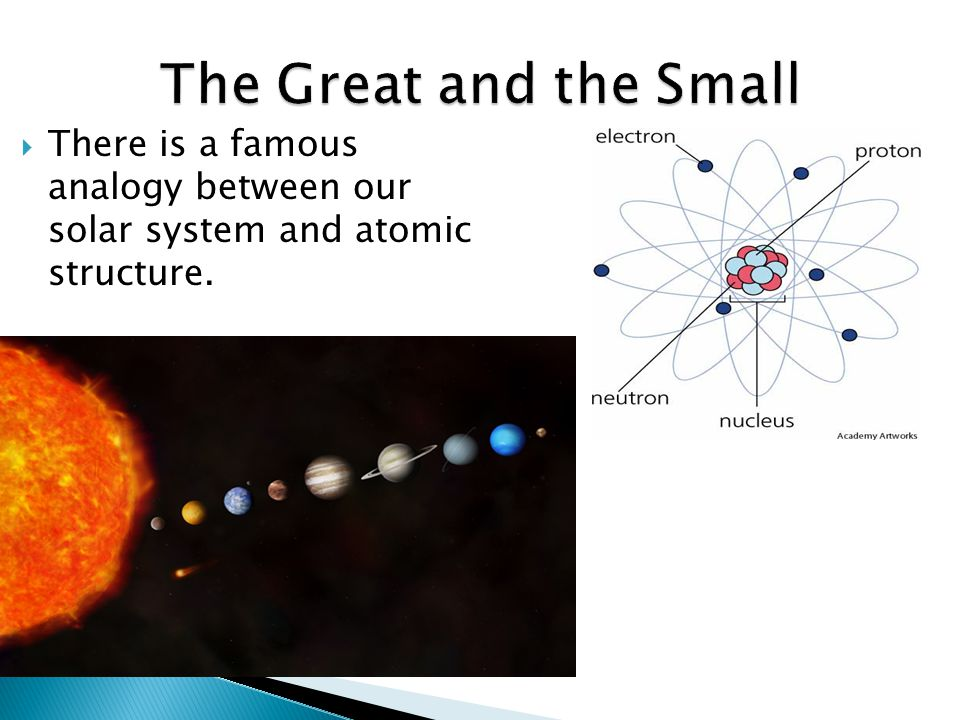  There is a famous analogy between our solar system and atomic structure.  ^ Target  < Source