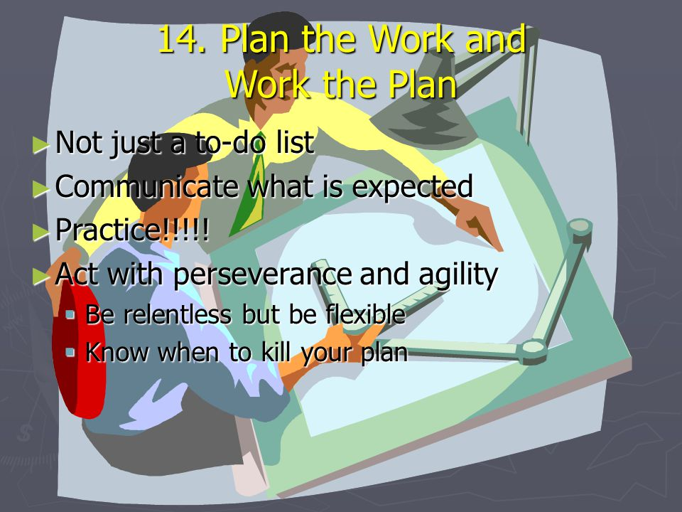 14. Plan the Work and Work the Plan ► Not just a to-do list ► Communicate what is expected ► Practice!!!!! ► Act with perseverance and agility  Be re