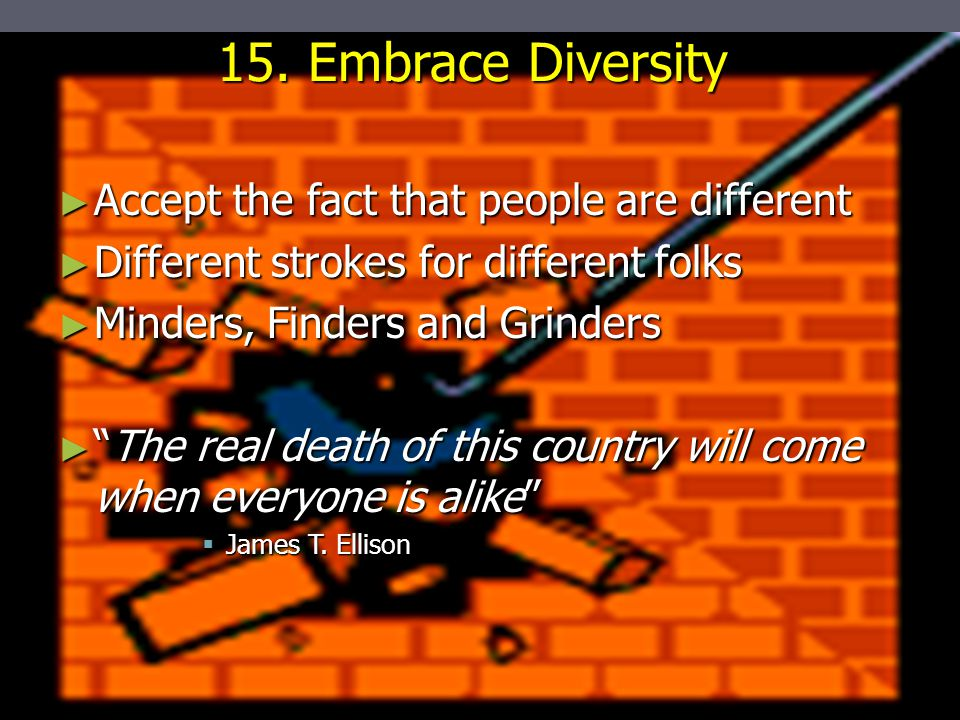 """15. Embrace Diversity ► Accept the fact that people are different ► Different strokes for different folks ► Minders, Finders and Grinders ► """"The real"""