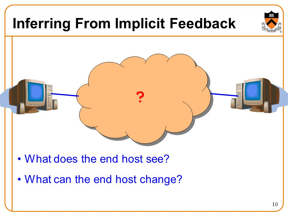 10 Inferring From Implicit Feedback ? What does the end host see? What can the end host change?