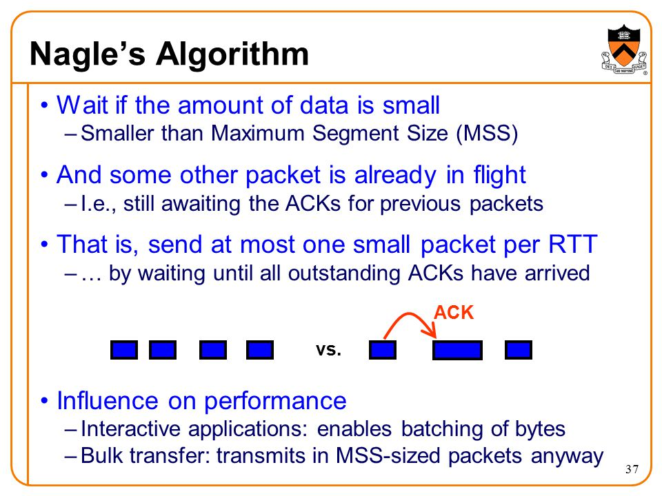 37 Nagle's Algorithm Wait if the amount of data is small –Smaller than Maximum Segment Size (MSS) And some other packet is already in flight –I.e., st