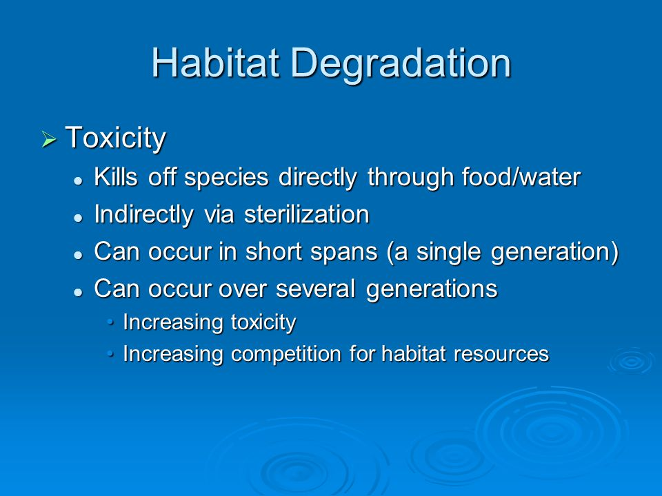 Habitat Degradation  Destruction of Habitat Save the Rainforests! Save the Rainforests! Elimination of living space Elimination of living space Change in habitat Change in habitat Rainforest to pasture landsRainforest to pasture lands Leads to diminishing resources Leads to diminishing resources Increases competitionIncreases competition Can be caused by natural processes Can be caused by natural processes Volcanoes, floods, drought, etc…Volcanoes, floods, drought, etc…