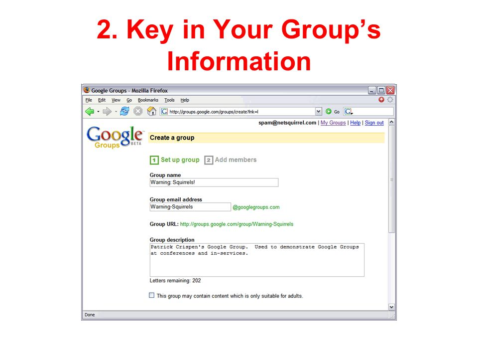 2. Key in Your Group's Information