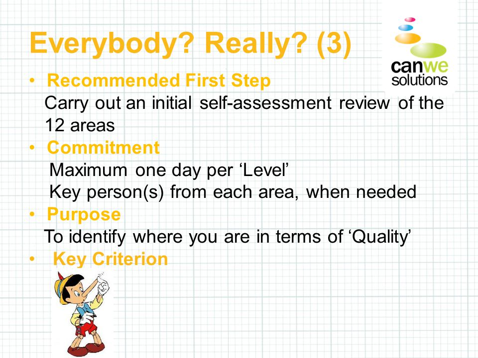 Recommended First Step Carry out an initial self-assessment review of the 12 areas Commitment Maximum one day per 'Level' Key person(s) from each area, when needed Purpose To identify where you are in terms of 'Quality' Key Criterion Everybody.
