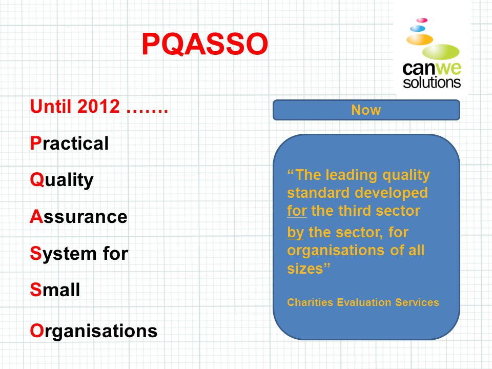 """Until 2012 ……. Practical Quality Assurance System for Small Organisations PQASSO Now """"The leading quality standard developed for the third sector by t"""