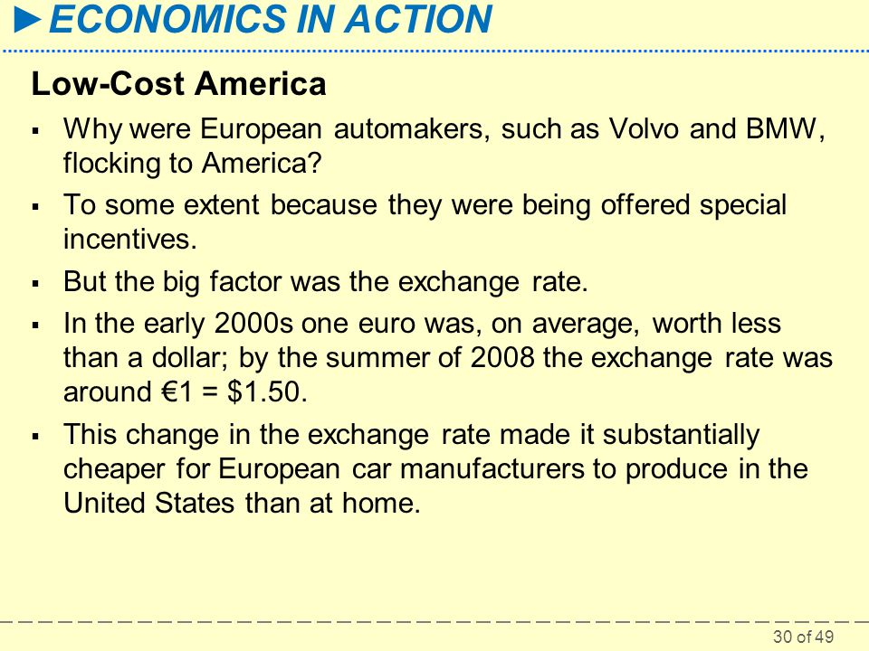 30 of 49 ►ECONOMICS IN ACTION Low-Cost America  Why were European automakers, such as Volvo and BMW, flocking to America?  To some extent because th