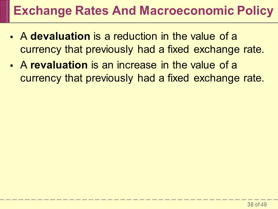 38 of 49 Exchange Rates And Macroeconomic Policy  A devaluation is a reduction in the value of a currency that previously had a fixed exchange rate.