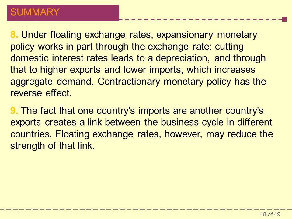 48 of 49 SUMMARY 8. Under floating exchange rates, expansionary monetary policy works in part through the exchange rate: cutting domestic interest rat