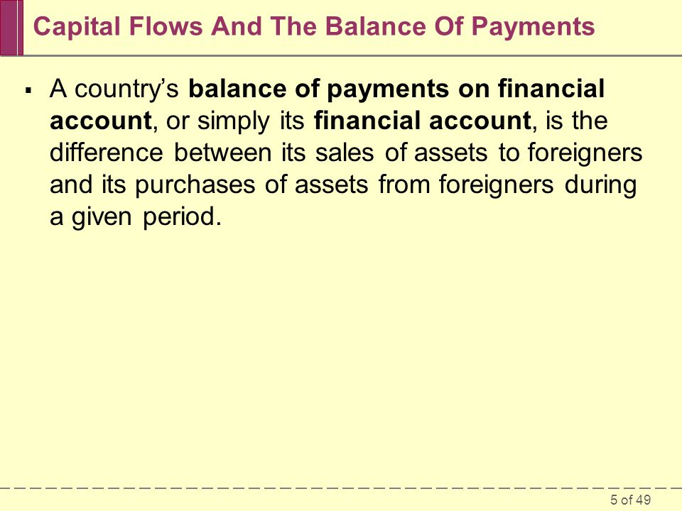 6 of 49 Capital Flows And The Balance Of Payments Example: The Costas' Financial Year