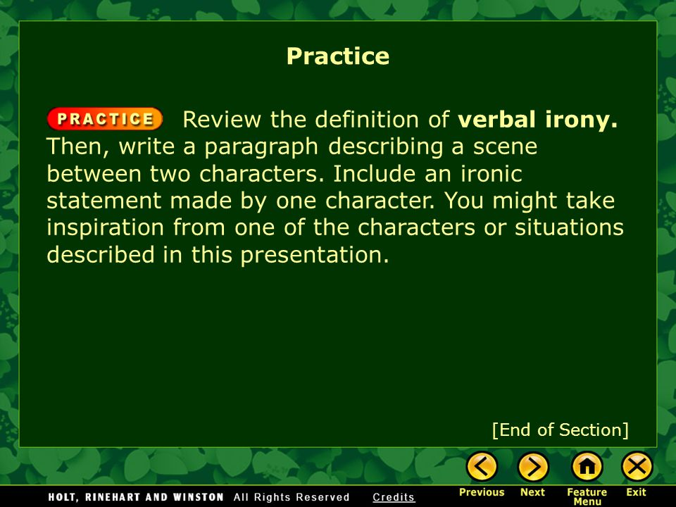 Review the definition of verbal irony.