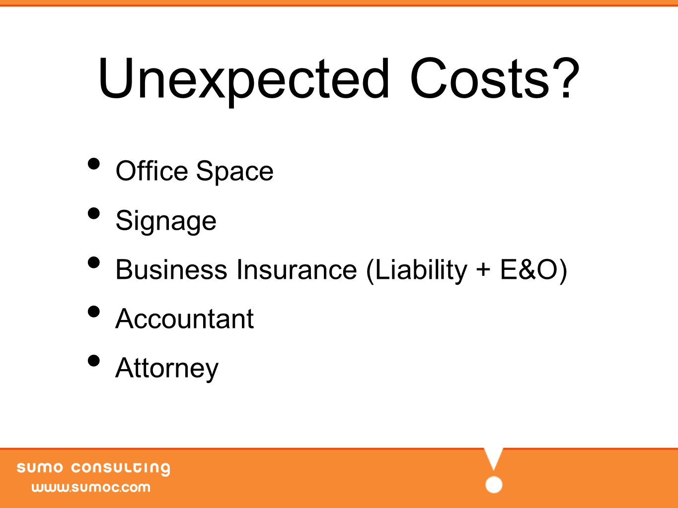 Unexpected Costs Office Space Signage Business Insurance (Liability + E&O) Accountant Attorney