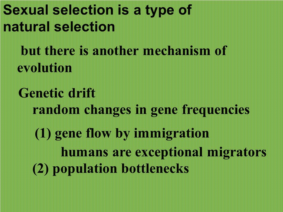 Sexual selection is a type of natural selection but there is another mechanism of evolution Genetic drift random changes in gene frequencies (1) gene flow by immigration humans are exceptional migrators (2) population bottlenecks