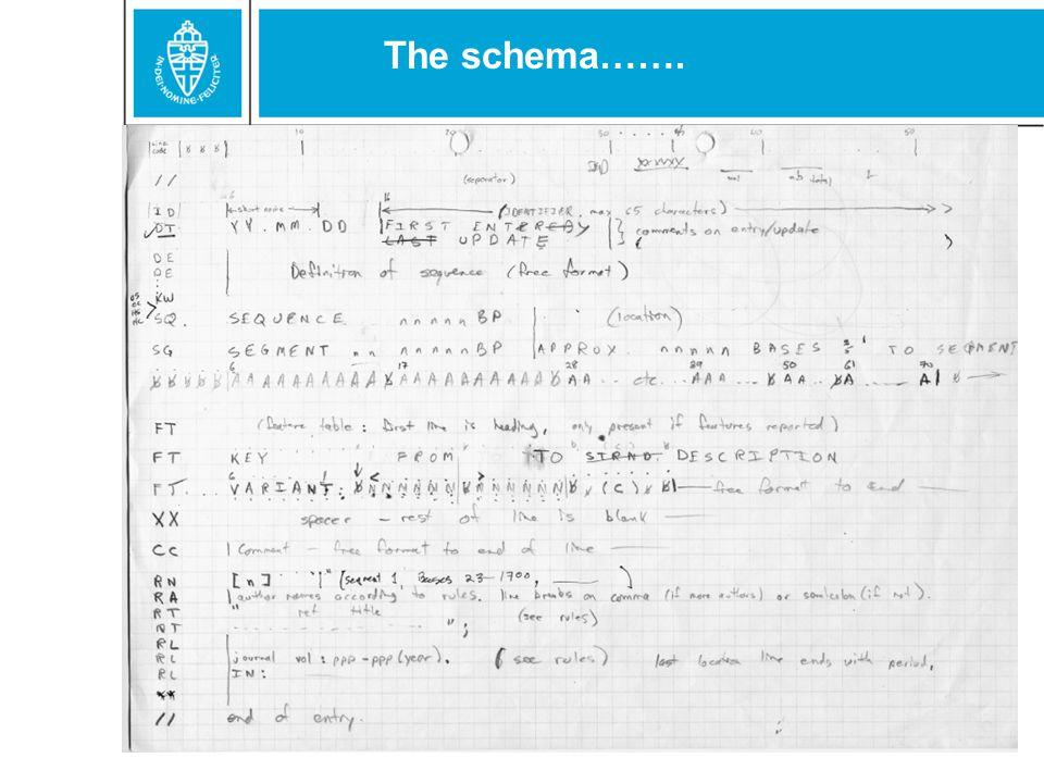 The schema…….