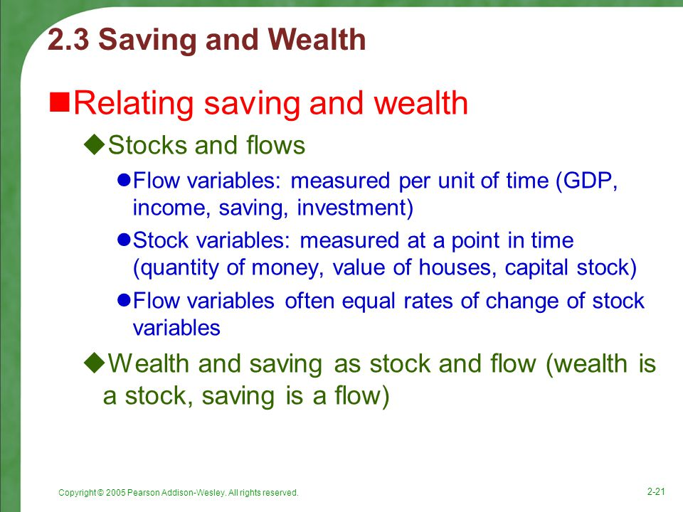 Copyright © 2005 Pearson Addison-Wesley. All rights reserved. 2-21 2.3 Saving and Wealth Relating saving and wealth  Stocks and flows Flow variables: