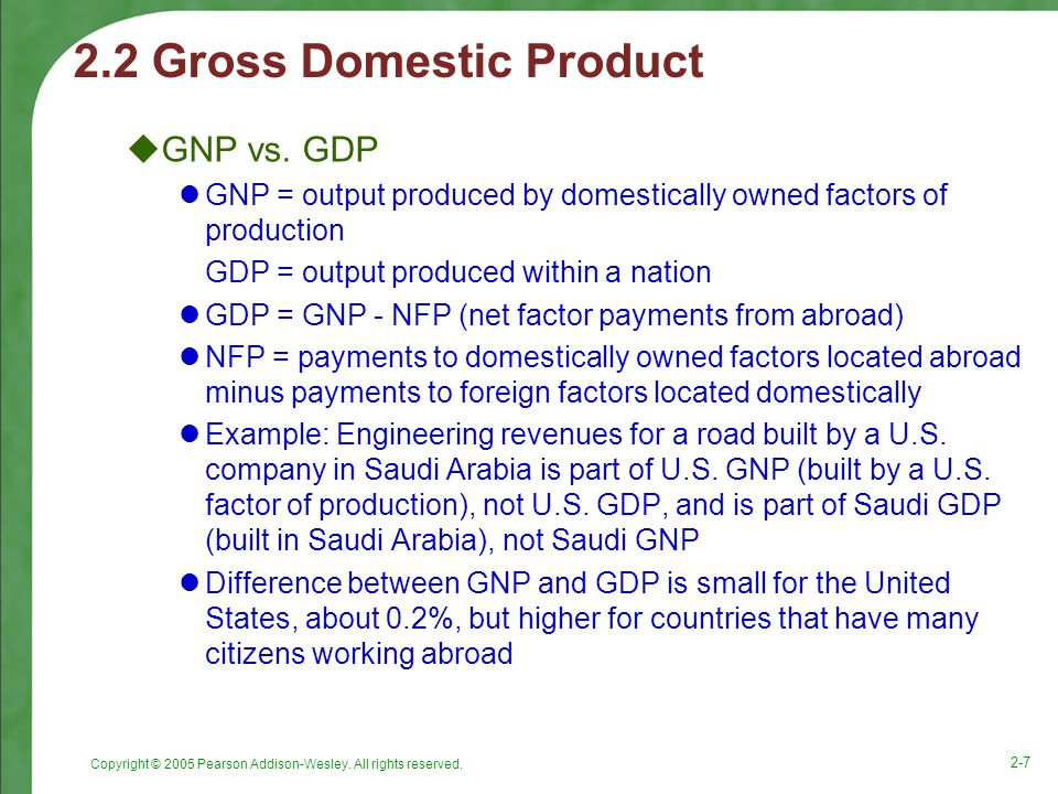 Copyright © 2005 Pearson Addison-Wesley. All rights reserved. 2-7 2.2 Gross Domestic Product  GNP vs. GDP GNP = output produced by domestically owned