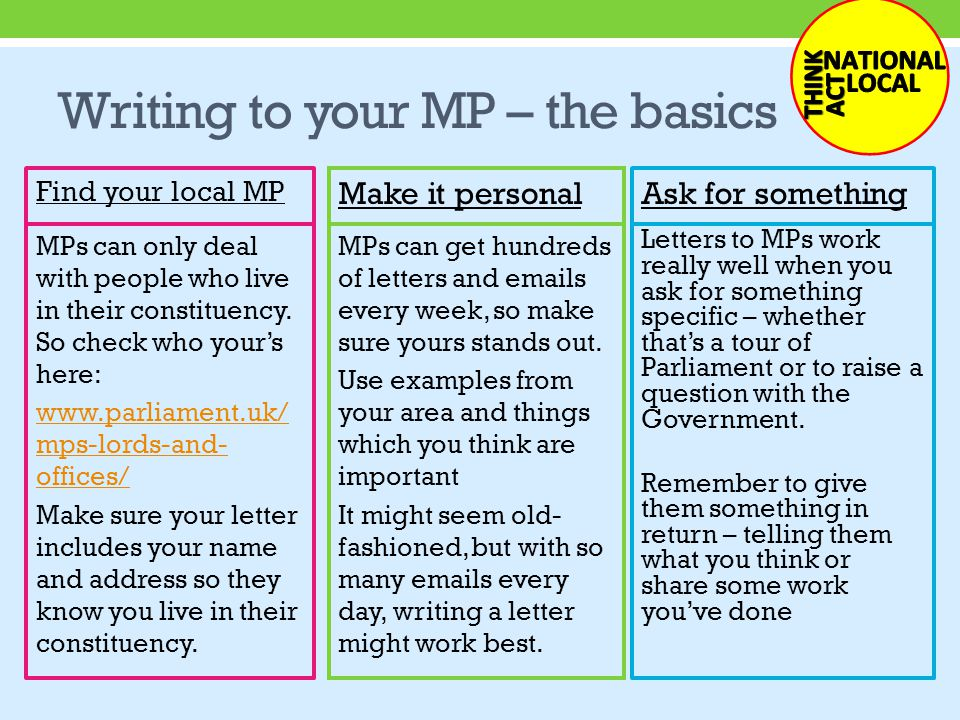 Writing to your MP – the basics MPs can only deal with people who live in their constituency.