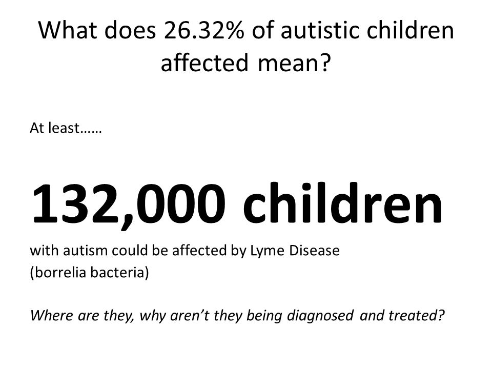 What does 26.32% of autistic children affected mean.