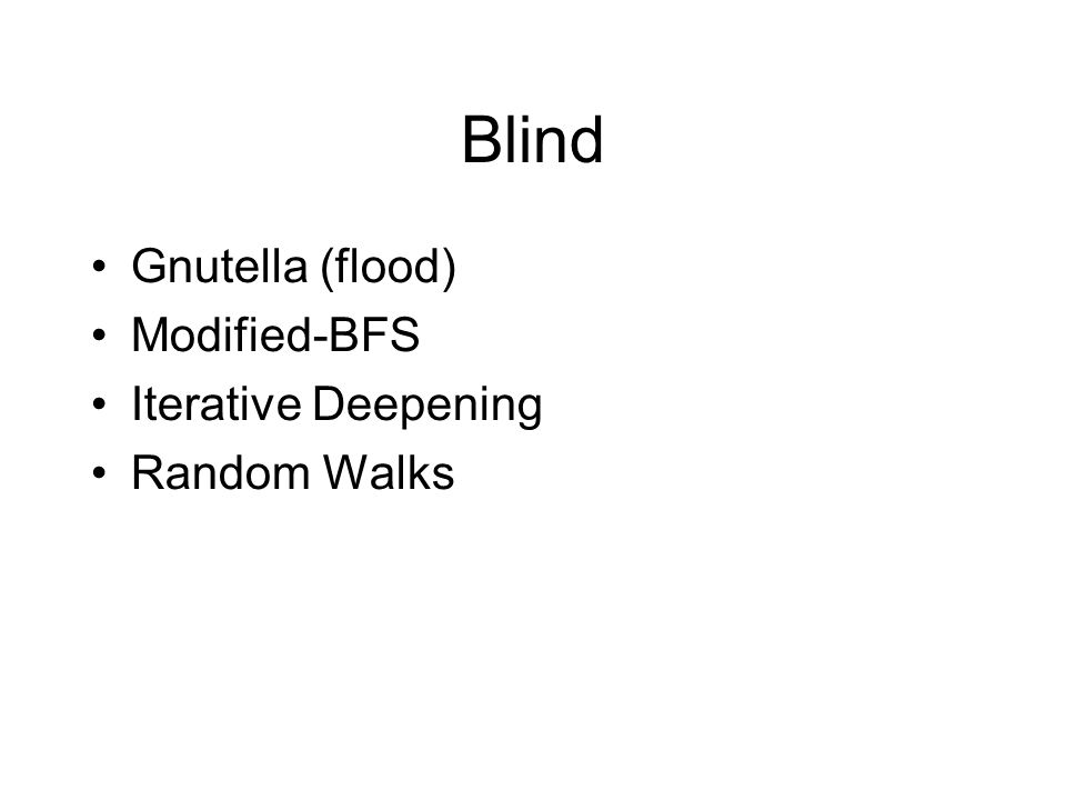 Blind Gnutella (flood)‏ Modified-BFS Iterative Deepening Random Walks