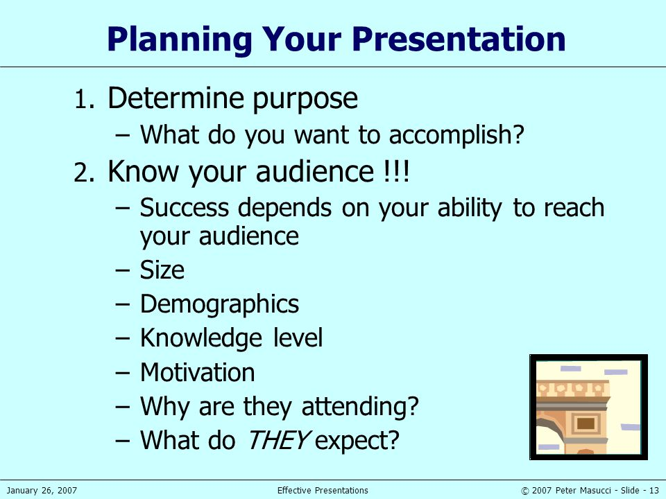 © 2007 Peter Masucci - Slide - 13January 26, 2007Effective Presentations Planning Your Presentation 1. Determine purpose –What do you want to accompli