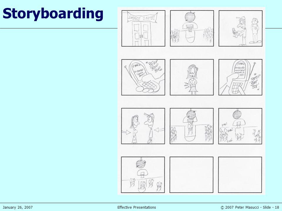 © 2007 Peter Masucci - Slide - 18January 26, 2007Effective Presentations Storyboarding