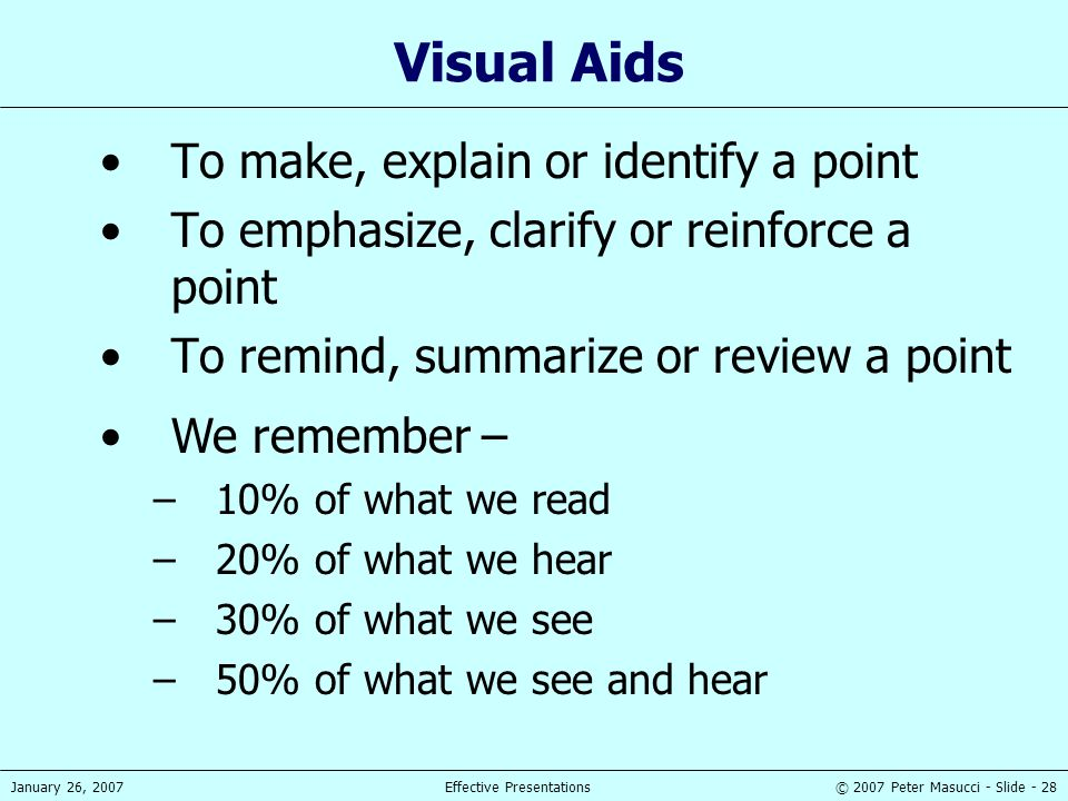 © 2007 Peter Masucci - Slide - 28January 26, 2007Effective Presentations Visual Aids To make, explain or identify a point To emphasize, clarify or rei