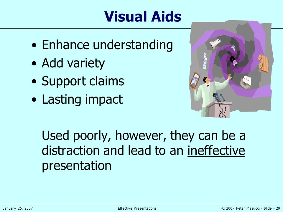 © 2007 Peter Masucci - Slide - 29January 26, 2007Effective Presentations Visual Aids Enhance understanding Add variety Support claims Lasting impact U