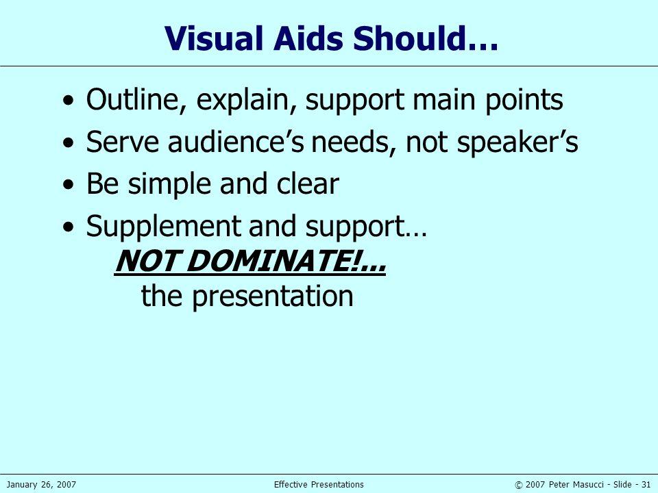 © 2007 Peter Masucci - Slide - 31January 26, 2007Effective Presentations Visual Aids Should… Outline, explain, support main points Serve audience's ne