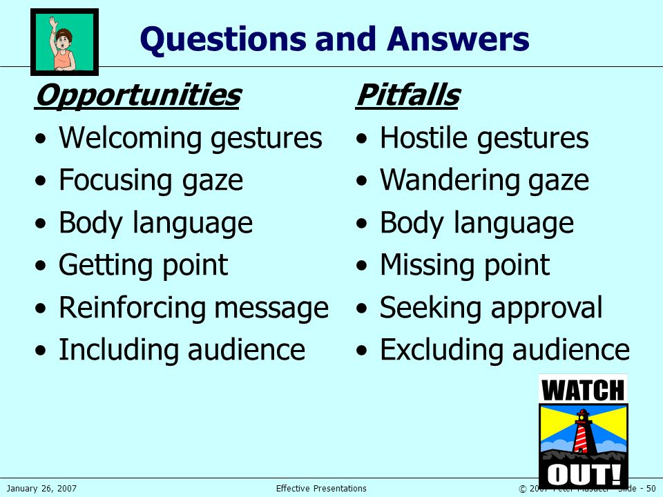 © 2007 Peter Masucci - Slide - 50January 26, 2007Effective Presentations Questions and Answers Opportunities Welcoming gestures Focusing gaze Body lan