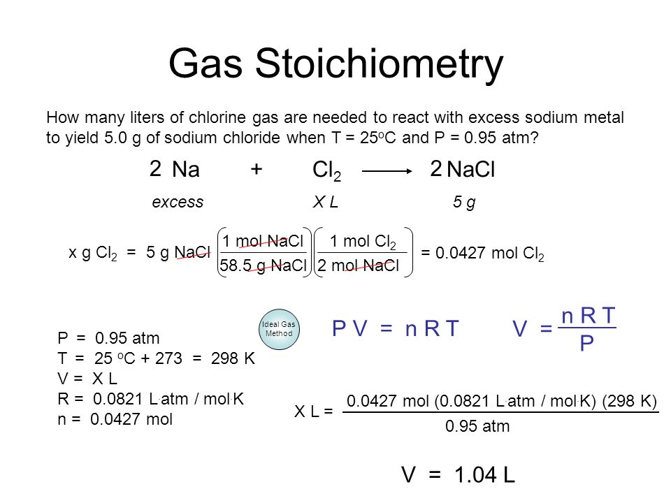 Gas Stoichiometry How many liters of chlorine gas are needed to react with excess sodium metal to yield 5.0 g of sodium chloride when T = 25 o C and P
