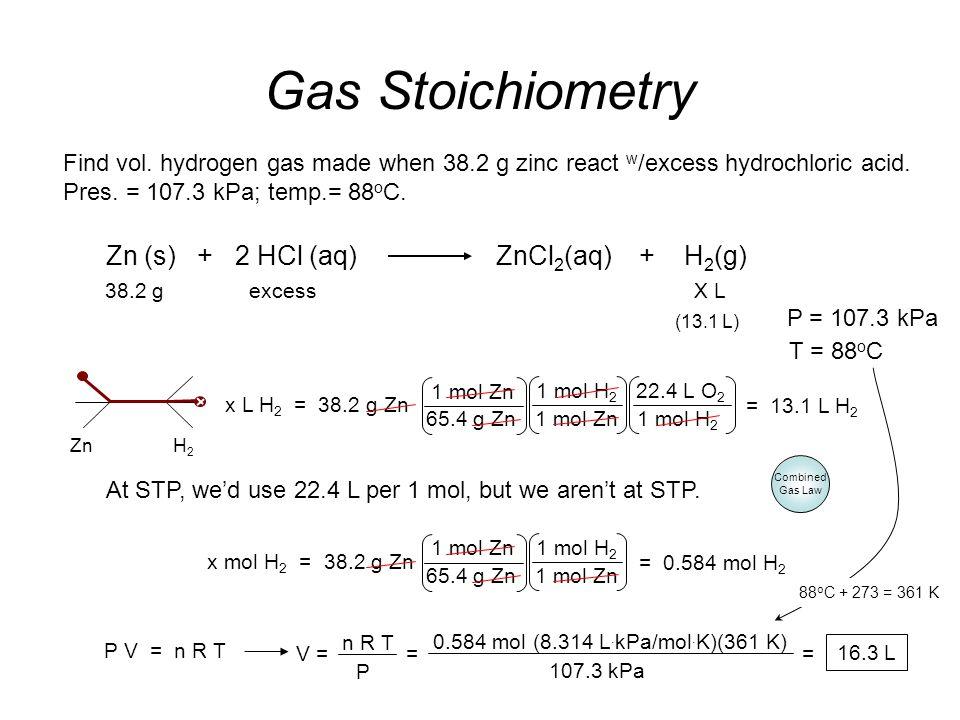 2 mol Al 2 O 3 3 mol O 2 Gas Stoichiometry Problem How many grams of Al 2 O 3 are formed from 15.0 L of O 2 at 97.3 kPa & 21°C? 0.597 mol O 2 = 40.6 g