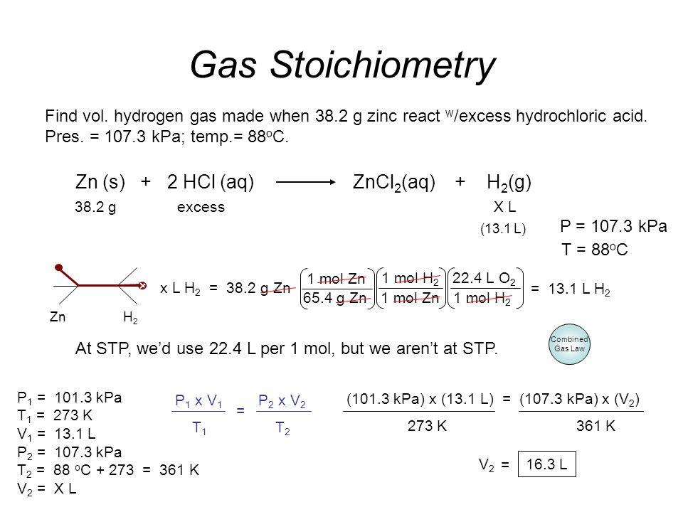 Find vol. hydrogen gas made when 38.2 g zinc react w /excess hydrochloric acid. Pres. = 107.3 kPa; temp.= 88 o C. Gas Stoichiometry 16.3 L At STP, we'