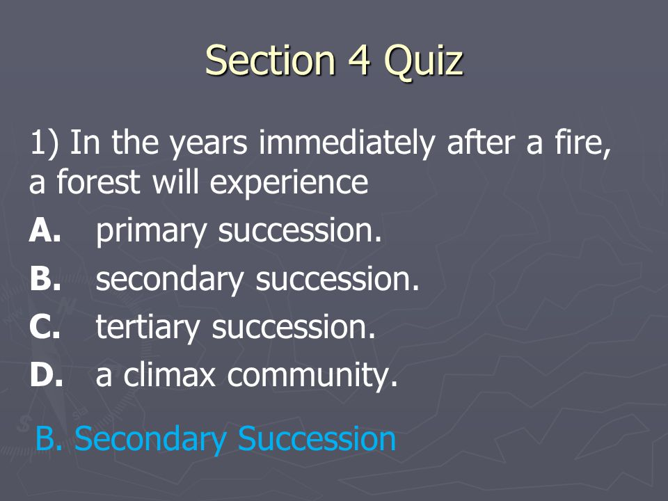 Section 4 Quiz 1) In the years immediately after a fire, a forest will experience A.primary succession. B.secondary succession. C.tertiary succession.