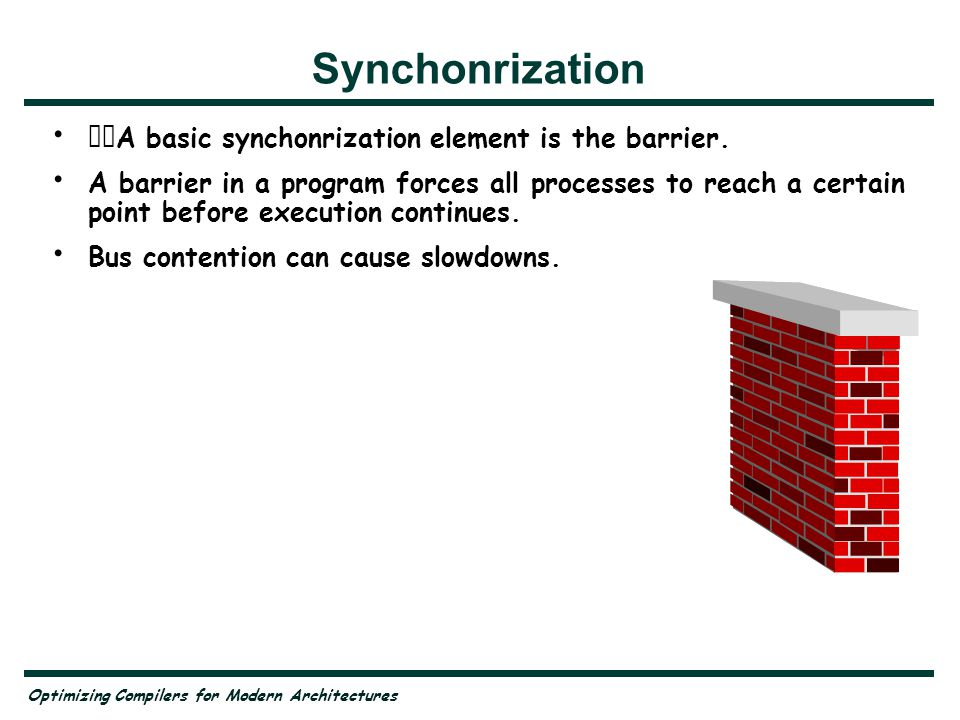 Optimizing Compilers for Modern Architectures Synchonrization A basic synchonrization element is the barrier.