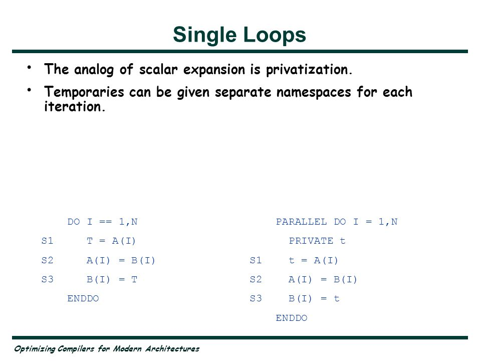 Optimizing Compilers for Modern Architectures DO I == 1,N S1 T = A(I) S2 A(I) = B(I) S3 B(I) = T ENDDO PARALLEL DO I = 1,N PRIVATE t S1 t = A(I) S2 A(I) = B(I) S3 B(I) = t ENDDO Single Loops The analog of scalar expansion is privatization.