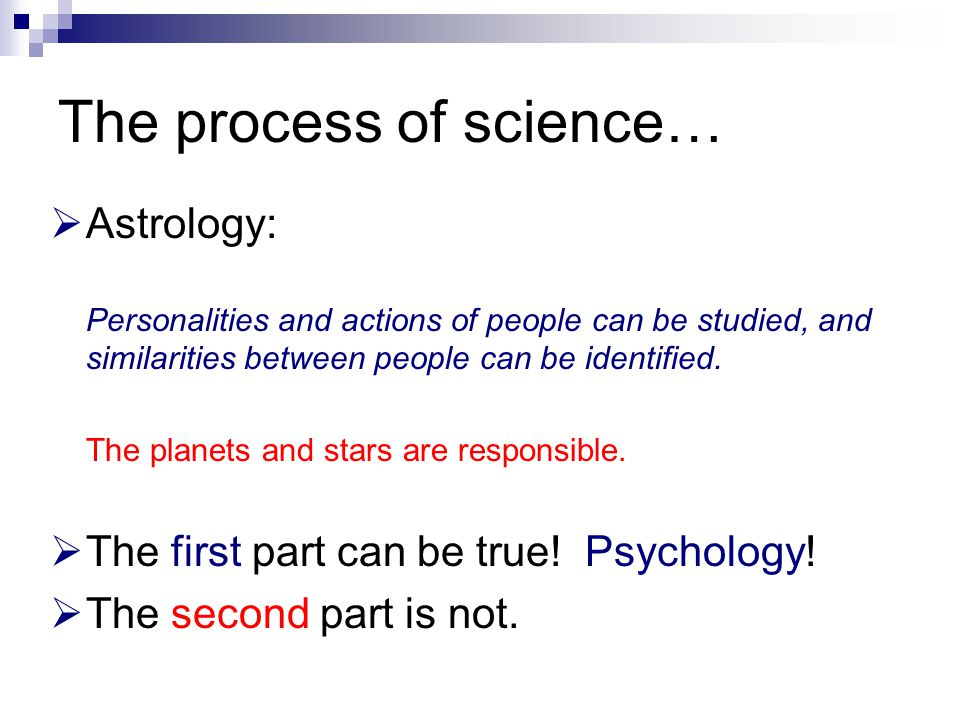The process of science…  Astrology: Personalities and actions of people can be studied, and similarities between people can be identified. The planet