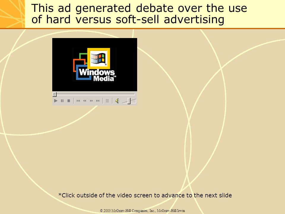This ad generated debate over the use of hard versus soft-sell advertising © 2003 McGraw-Hill Companies, Inc., McGraw-Hill/Irwin *Click outside of the video screen to advance to the next slide