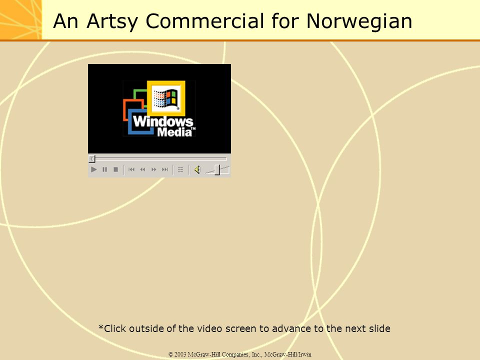An Artsy Commercial for Norwegian © 2003 McGraw-Hill Companies, Inc., McGraw-Hill/Irwin *Click outside of the video screen to advance to the next slide