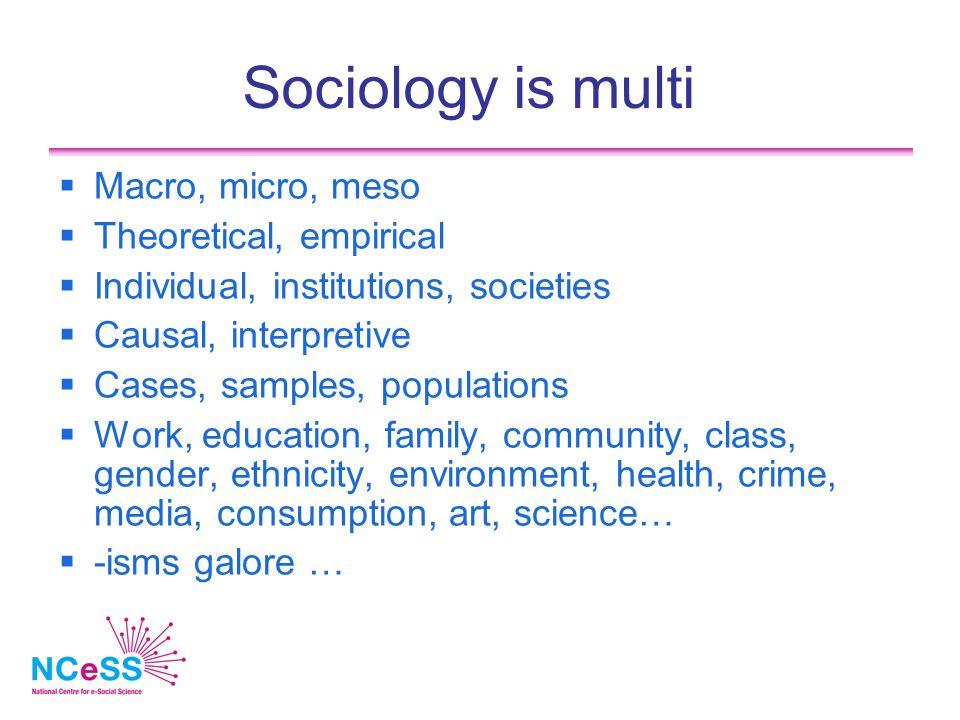 Sociology is multi  Macro, micro, meso  Theoretical, empirical  Individual, institutions, societies  Causal, interpretive  Cases, samples, popula