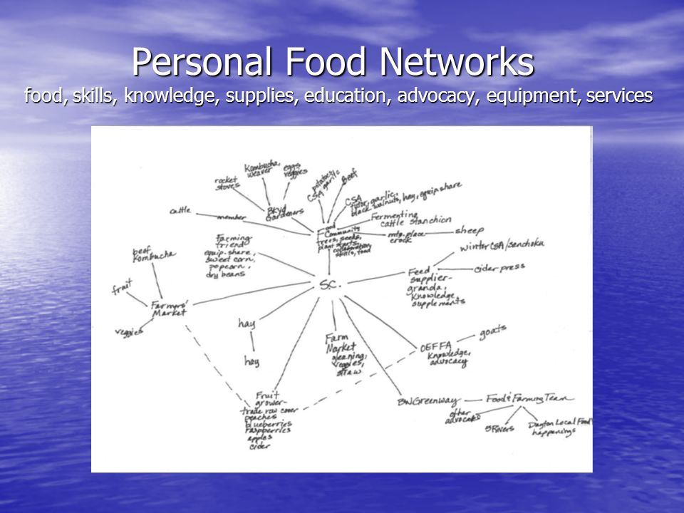 Personal Food Networks food, skills, knowledge, supplies, education, advocacy, equipment, services Personal Food Networks food, skills, knowledge, supplies, education, advocacy, equipment, services