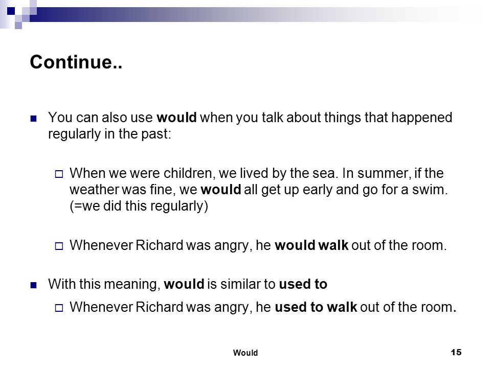 Would16 Summary Learning Objectives: Would Example set A: Use would ('d) / wouldn't when we imagine a situation or action Example set B: Compare will ('ll) and would ('d) Example set C: Use would / wouldn't when you talk about things that happened regularly in the past.