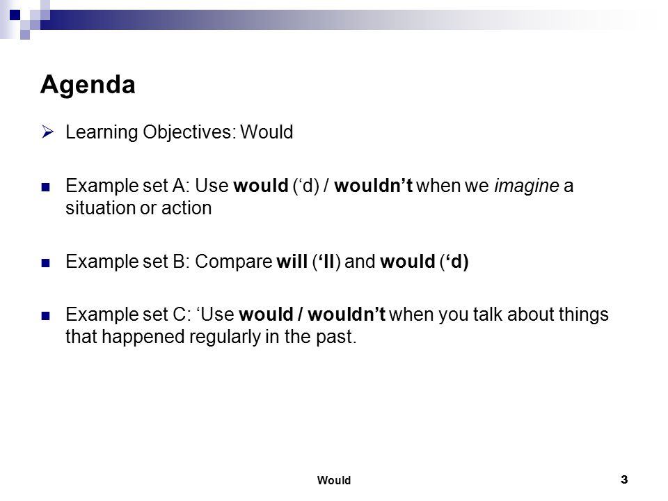 Would4 Learning Objectives Use would ('d) / wouldn't when we imagine a situation or action Compare would (do) and would have (done): would/wouldn't is the past of will/won't Use would in sentences with if.