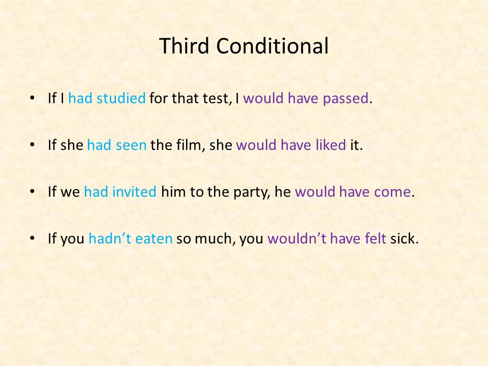 Third Conditional If I had studied for that test, I would have passed.