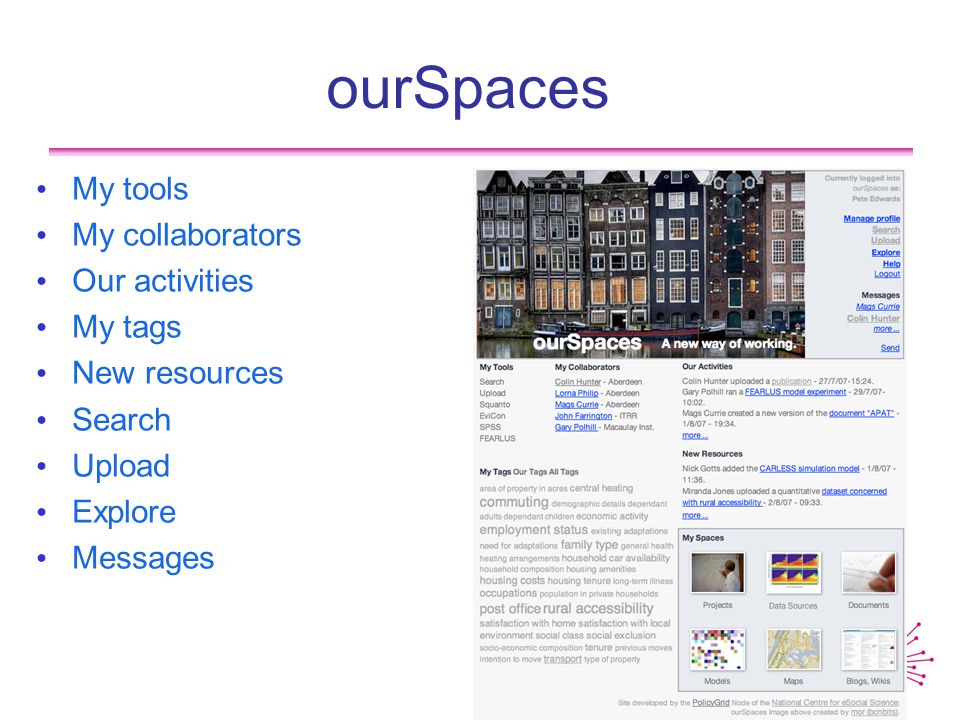 ourSpaces My tools My collaborators Our activities My tags New resources Search Upload Explore Messages