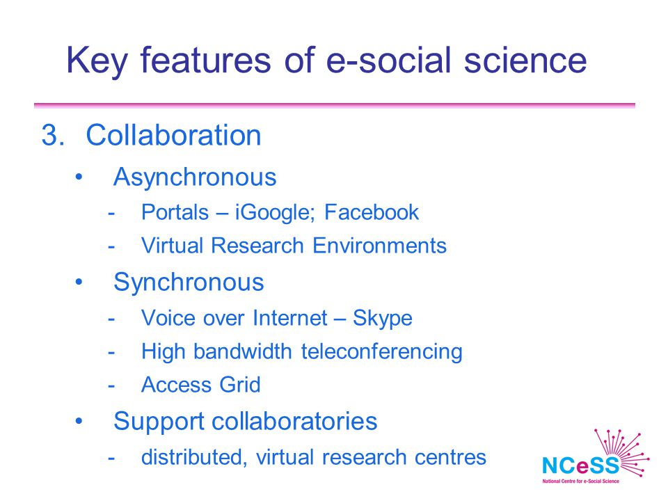 Key features of e-social science 3.Collaboration Asynchronous -Portals – iGoogle; Facebook -Virtual Research Environments Synchronous -Voice over Internet – Skype -High bandwidth teleconferencing -Access Grid Support collaboratories -distributed, virtual research centres