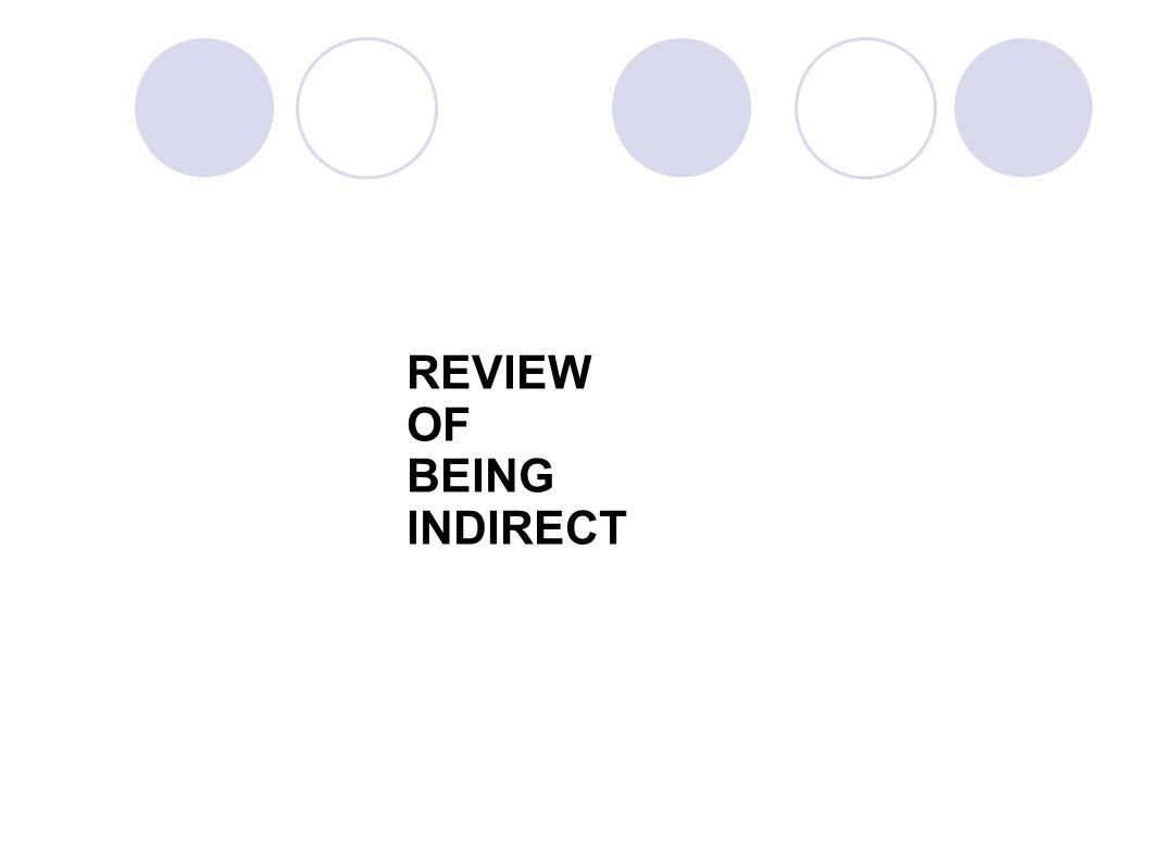 REVIEW OF BEING INDIRECT