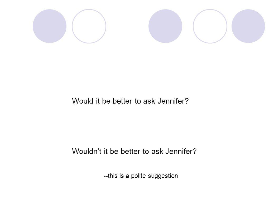 Would it be better to ask Jennifer. Wouldn t it be better to ask Jennifer.