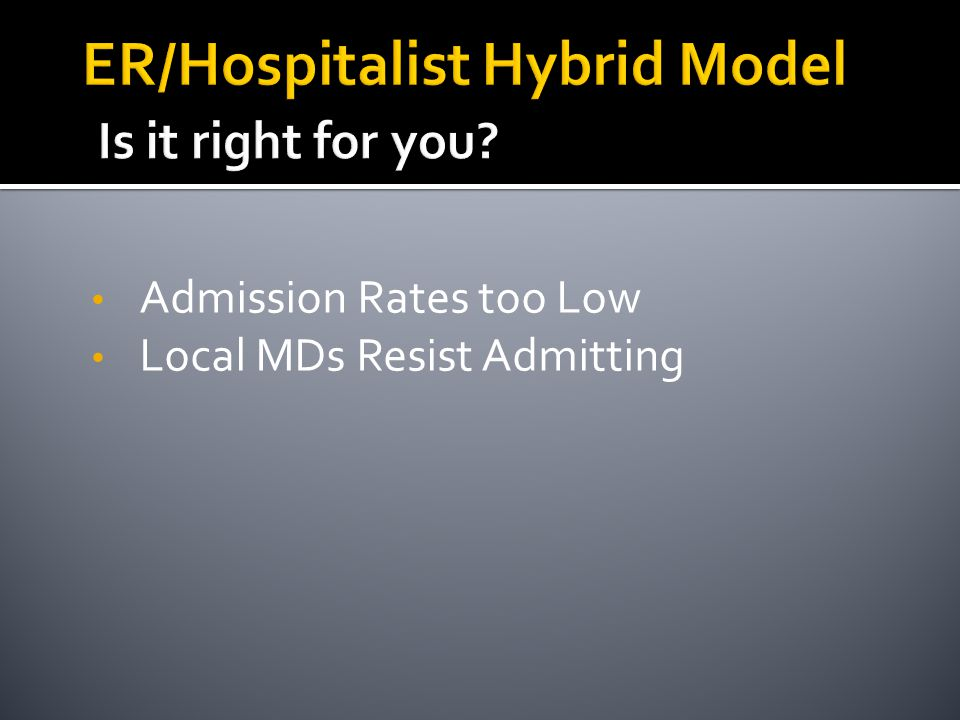 Admission Rates too Low Local MDs Resist Admitting